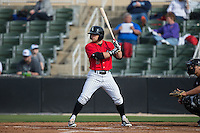 Tyler Sullivan (5) of the Kannapolis Intimidators at bat against the Hickory Crawdads at Kannapolis Intimidators Stadium on April 10, 2016 in Kannapolis, North Carolina.  The Intimidators defeated the Crawdads 10-3.  (Brian Westerholt/Four Seam Images)