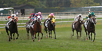 September 3, 2012.  Ben's Cat, ridden by Julien Pimentel and trained by King Leatherbury, wins the grade III Turf Monster Handicap, a Breeders' Cup Challenge race, at Parx Racing for the second consecutive year. Heading down the stretch, Great Mills (far right) has the lead. He finished 3rd in a photo finish behind Ben's Cat (#5, left) and runner-up Chamberlain Bridge (pink cap, white blinkers). (Joan Fairman Kanes/Eclipse Sportswire)