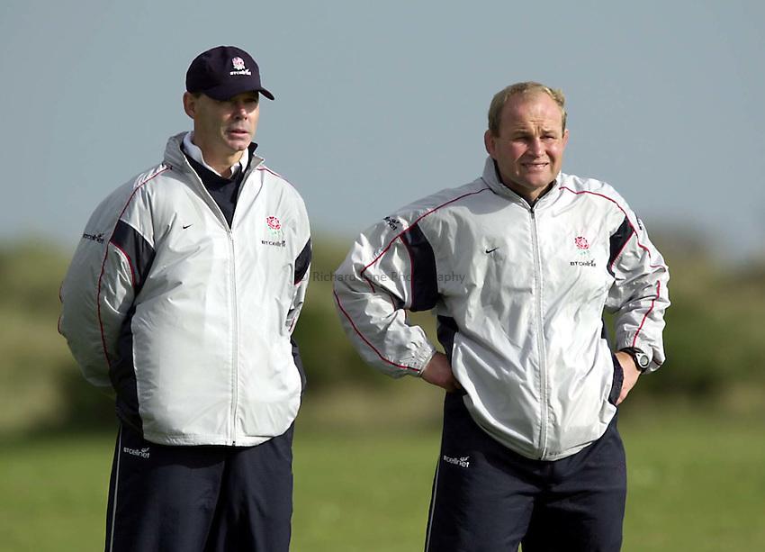 Photo. Richard Lane. .England Squad Training at Portmarnock, Ireland. 17-10-2001.England management, Clive Woodward and Andy Robinson.