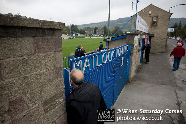 Matlock Town 0 Eastwood Town 3, 09/10/2010. Causeway Lane, FA Cup 3rd qualifying round. Spectators making their way into the ground before the FA Cup 3rd qualifying round tie between Matlock Town and Eastwood Town at Causeway Lane, Matlock. The visitors from Nottingham who play one division higher than Matlock won by three goals to nil to move to within one round of the FA Cup 1st round proper. The match was watched by 655 spectators. Photo by Colin McPherson.