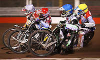 Heat 10: Lee Richardson (red), Peter Ljung (blue), Grzegorz Zengota (white) and Maciej Jankowski (yellow) - Lakeside Hammers vs Swindon Robins, Elite League Speedway at the Arena Essex Raceway, Purfleet - 03/09/10 - MANDATORY CREDIT: Rob Newell/TGSPHOTO - Self billing applies where appropriate - 0845 094 6026 - contact@tgsphoto.co.uk - NO UNPAID USE.