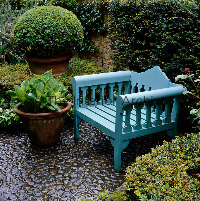A pale blue wooden garden chair designed by John Stefanidis is flanked by Buxus Sempervirens