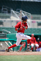 GCL Red Sox second baseman Ricardo Cubillan (20) grounds out during a game against the GCL Rays on August 1, 2018 at JetBlue Park in Fort Myers, Florida.  GCL Red Sox defeated GCL Rays 5-1 in a rain shortened game.  (Mike Janes/Four Seam Images)