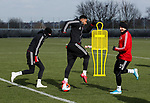 Lys Mousset of Sheffield Utd and Phil Jagielka of Sheffield Utd during a training session at the Steelphalt Academy, Sheffield. Picture date: 5th March 2020. Picture credit should read: Simon Bellis/Sportimage