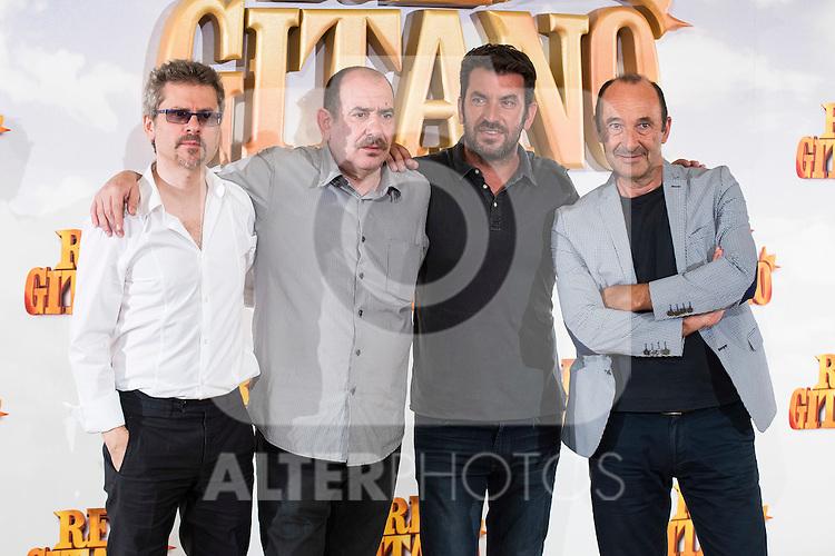 """Director Juanma Bajo Ulloa and actors Karra Elejalde, Arturo Valls and Manuel Manquiña pose during """"Rey Gitano"""" film presentation at Palafox Cinemas in Madrid, Spain. July 09, 2015.<br />  (ALTERPHOTOS/BorjaB.Hojas)"""