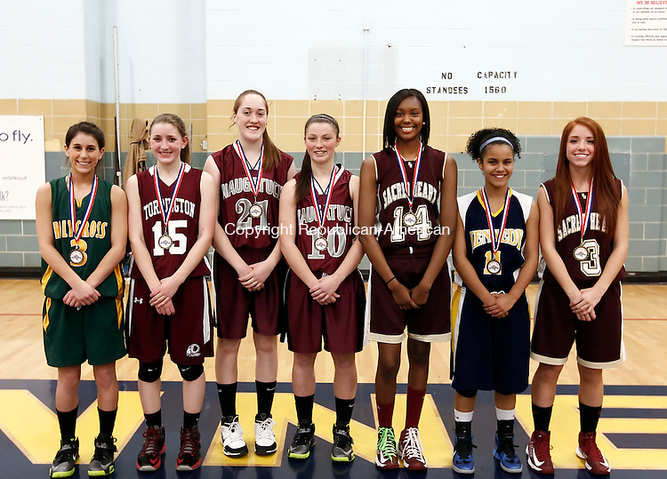 Waterbury, CT-  February 2013-021913CM18-  All Copper Division.  Left to right: Amy Stafford, Holy Cross; Carolyn Teti, Torrington; Amy Dietz, Naugatuck; Angie Piccirillo, Naugatuck; Dionne Parker, Sacred Heart; Lynadia Whiting, Kennedy; and Elena Colaci, Sacred Heart.     Christopher Massa Republican-American