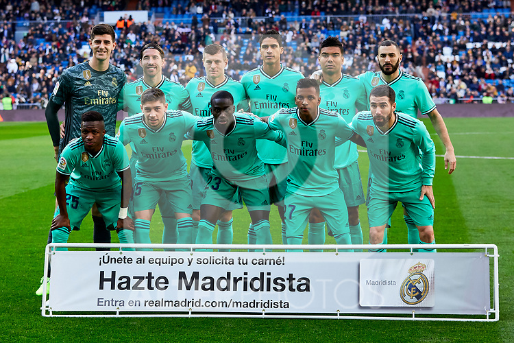 Team photo of Real Madrid during La Liga match between Real Madrid and RCD Espanyol at Santiago Bernabeu Stadium in Madrid, Spain. December 07, 2019. (ALTERPHOTOS/A. Perez Meca)