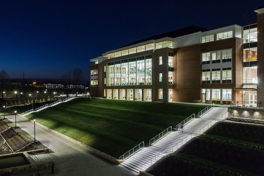 Dusk and night shots of the Jerry Falwell Library taken March 23, 2015. Photo by David Duncan