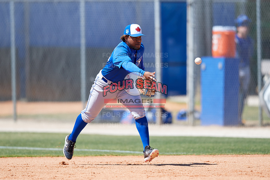 Toronto Blue Jays Juan Kelly (19) during a Minor League Spring Training Intrasquad game on March 14, 2018 at Englebert Complex in Dunedin, Florida.  (Mike Janes/Four Seam Images)