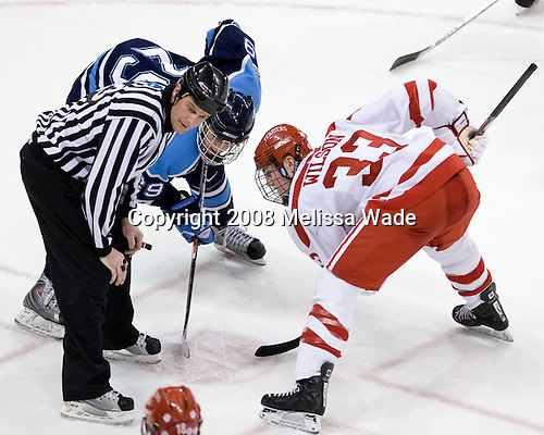 Tanner House (Maine - 29), Colin Wilson (BU - 33) - The Boston University Terriers defeated the University of Maine Black Bears 1-0 (OT) on Saturday, February 16, 2008 at Agganis Arena in Boston, Massachusetts.