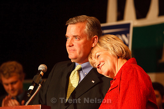 Trent Nelson  |  The Salt Lake Tribune.Sheryl Allen rests her head on the shoulder of her running mate, Peter Corroon, Democratic candidate for Utah Governor, makes his concession speech on election night at the Salt Lake City Marriott Tuesday, November 2, 2010.