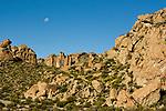 Moon over dry puna, Abra Granada, Andes, northwestern Argentina