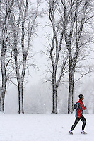jogger in Snowfall in Salt Lake City's Sugarhouse Park.