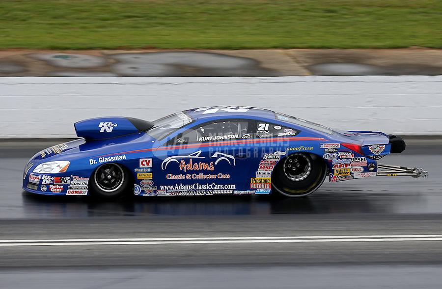 May 3, 2013; Commerce, GA, USA: NHRA pro stock driver Kurt Johnson during qualifying for the Southern Nationals at Atlanta Dragway. Mandatory Credit: Mark J. Rebilas-