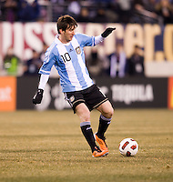Lionel Messi (10) of Argentina looks for a pass during an international friendly at New Meadowlands Stadium in East Rutherford, NJ.  The United States tied Argentina, 1-1.