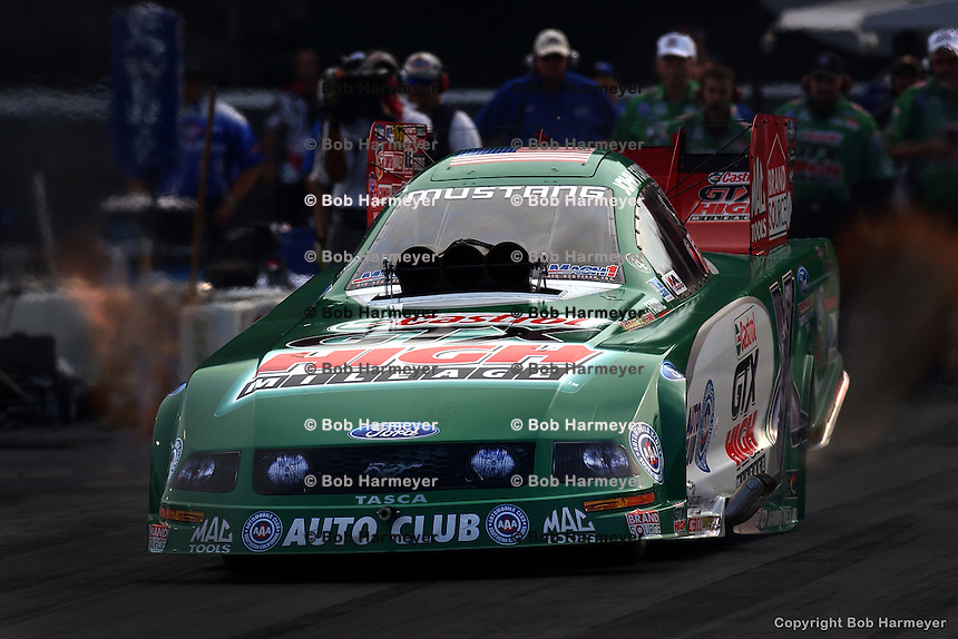 BRISTOL, TN - JULY 8: John Force drives his Funny Car during the OReilly NHRA Thunder Valley Nationals on July 8, 2007, at Bristol Dragway near Bristol, Tennessee.
