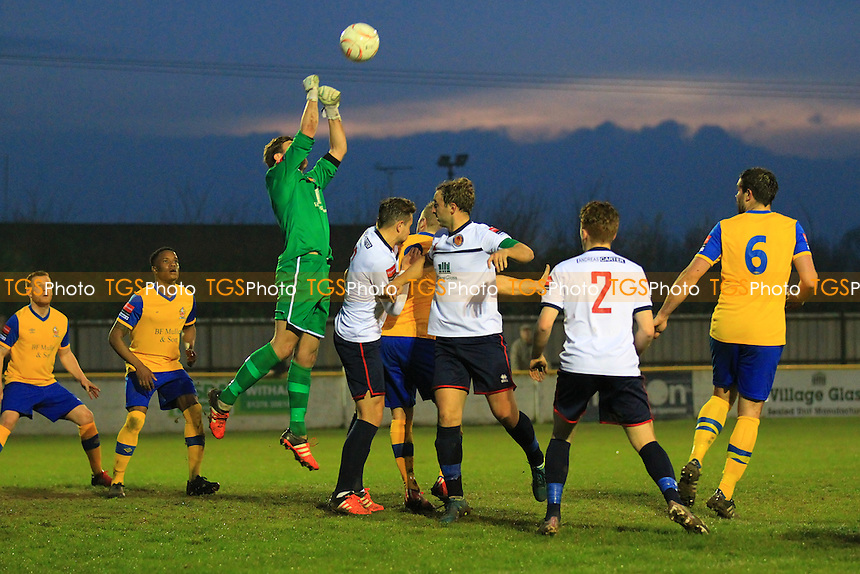 Lewis Down punches clear for Witham during Witham Town vs AFC Hornchurch, Ryman League Divison 1 North Football at Spa Road on 11th April 2016