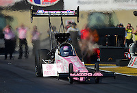 Oct. 5, 2012; Mohnton, PA, USA: NHRA top fuel dragster driver Antron Brown during qualifying for the Auto Plus Nationals at Maple Grove Raceway. Mandatory Credit: Mark J. Rebilas-