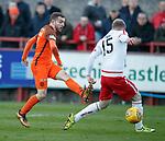 17.04.18 Brechin City v Dundee utd:<br /> Paul McMullan shoots through the legs of Brechin defender Euan Spark