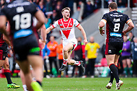 Picture by Alex Whitehead/SWpix.com - 30/03/2018 - Rugby League - Betfred Super League - St Helens v Wigan Warriors - Totally Wicked Stadium, St Helens, England - St Helens' Danny Richardson celebrates scoring a drop-goal.