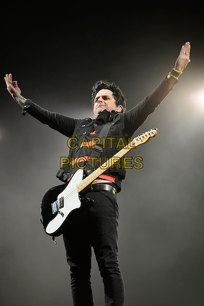 Billie Joe Armstrong<br /> Green Day headlining the main stage at Reading Festival, Reading, England. 23rd August 2013<br /> performing performance live on stage in concert gig music half 3/4 length black jacket jeans denim guitar hands arms in air red stripe top<br /> CAP/MAR<br /> &copy; Martin Harris/Capital Pictures