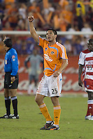 Houston Dynamo forward Brian Ching (25) celebrates a goal.  Houston Dynamo defeated FC Dallas 4-1 at Robertson Stadium in Houston, TX on November 2, 2007.  Houston Dynamo won the Western Conference semifinal series with an aggregate score of 4-2.