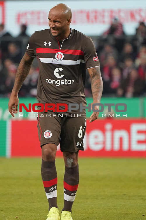 08.02.2019, RheinEnergieStadion, Koeln, GER, 2. FBL, 1.FC Koeln vs. FC St. Pauli,<br />  <br /> DFL regulations prohibit any use of photographs as image sequences and/or quasi-video<br /> <br /> im Bild / picture shows: <br /> Christopher Avevor (St Pauli #6), hat sich verletzt Verletzung / verletzt / Schmerzen, <br /> <br /> Foto © nordphoto / Meuter