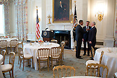 United States President Barack Obama talks with Governor Peter Shumlin (Democrat of Vermont), center, chair of the Democratic Governors Association, and Governor Mike Pence (Republican of Indiana) after a meeting with the National Governors Association in the State Dining Room of the White House, February 25, 2013. .Mandatory Credit: Pete Souza - White House via CNP