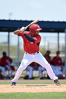 GCL Nationals outfielder Dionicio Rosario (5) at bat during a game against the GCL Marlins on June 28, 2014 at the Carl Barger Training Complex in Viera, Florida.  GCL Nationals defeated the GCL Marlins 5-0.  (Mike Janes/Four Seam Images)