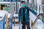 05.07.2020, Bremen Airport Hans Koschnick, Bremen, GER, Werder Bremen - Airpirt Bremen Abflug Relegation 02 - Heidenheim, <br /> <br /> Reisecrew des SV Werder Bremen auf dem Bremer Flughafen / Airport auf dem Weg zum 2. Relegationsspiel am 06.07.2020 in Heidenheim. Auf dem Airport alle mit Sicherheitsabstand und mit CORONA Gesichtsmaske<br /> <br /> <br />  im Bild<br /> <br /> <br /> Davie Selke  (SV Werder Bremen #09)<br /> <br /> Foto © nordphoto / Kokenge