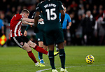 John Lundstram of Sheffield United shoots during the Premier League match at Bramall Lane, Sheffield. Picture date: 5th December 2019. Picture credit should read: James Wilson/Sportimage