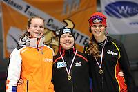 SCHAATSEN: HEERENVEEN: Thialf, Viking Race, 18-03-2011, Podium Girls16 500m, Reina Anema (G-FR), Doreen Lamb (GER), Julia Berentschot (NED), ©foto Martin de Jong