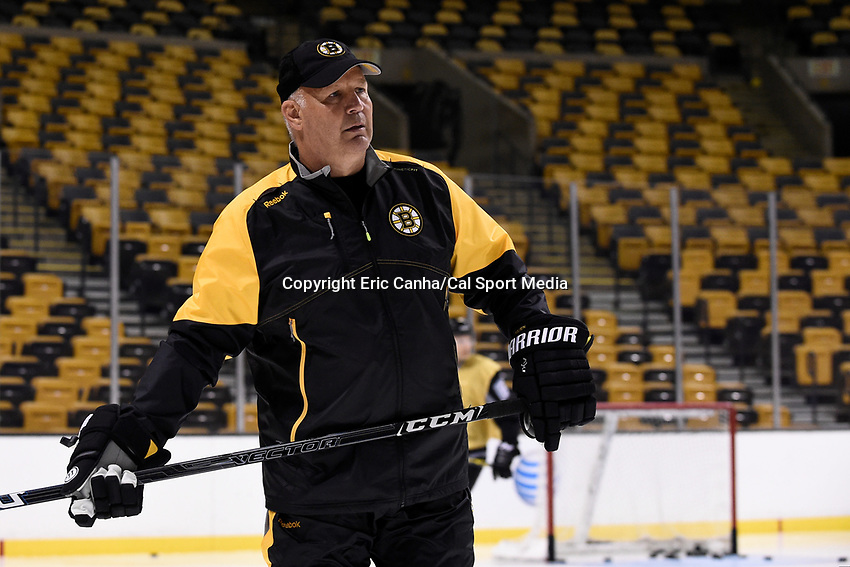 September 18, 2015 - Boston, Massachusetts, U.S. - Boston Bruins head coach Claude Julien watches the action on the ice  during the Boston Bruins training camp held at TD Garden in Boston Massachusetts. Eric Canha/CSM