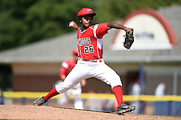 Batavia Muckdogs pitcher Ramon Del Orbe (26) delivers a pitch during a game against the Mahoning Valley Scrappers on August 24, 2014 at Dwyer Stadium in Batavia, New York.  Mahoning Valley defeated Batavia 7-6.  (Mike Janes/Four Seam Images)