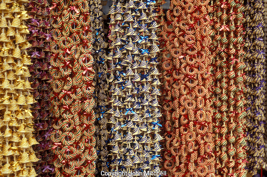 Straw Christmas garlands for sale in Tzintzuntzan near Patzcuaro, Michoacan, Mexico