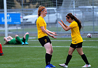 Danielle Ohlsson celebrates scoring the matchwinner during the 2018-19 National Women's League football match between Capital and Canterbury at Memorial Park in Petone, Wellington, New Zealand on Saturday, 1 December 2018. Photo: Dave Lintott / lintottphoto.co.nz