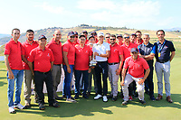 Joakim Lagergren (SWE) &amp; greenstaff at prize giving the final round of the Rocco Forte Sicilian Open played at Verdura Resort, Agrigento, Sicily, Italy 13/05/2018.<br /> Picture: Golffile | Phil Inglis<br /> <br /> <br /> All photo usage must carry mandatory copyright credit (&copy; Golffile | Phil Inglis)