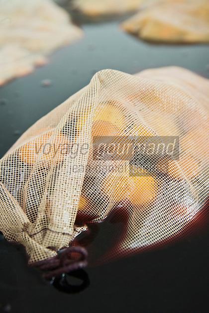 Europe/France/06/Alpes-Maritimes/Menton: Lionel Deremarque, liquoriste - Apéritifs du Soleil - prépare ses liqueurs de  fruits- ici mandarine de menton
