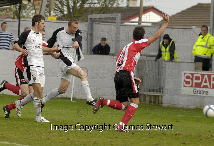 21/04/2007       Copyright Pic: James Stewart.File Name : sct_jspa09_gretna_v_clyde.COLIN MCMENAMIN SCORES BUT HIS GOAL WAS DISALLOWED FOR HAND BALL........James Stewart Photo Agency 19 Carronlea Drive, Falkirk. FK2 8DN      Vat Reg No. 607 6932 25.Office     : +44 (0)1324 570906     .Mobile   : +44 (0)7721 416997.Fax         : +44 (0)1324 570906.E-mail  :  jim@jspa.co.uk.If you require further information then contact Jim Stewart on any of the numbers above.........