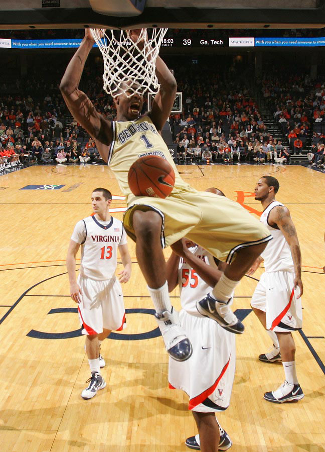 Georgia Tech's Iman Shumpert(1) slams the ball during an ACC college basketball game against Virginia Wednesday Jan. 13, 2010 in Charlottesville, Va. Virginia won 82-75.   Photo/Andrew Shurtleff)