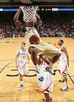 Georgia Tech's Iman Shumpert(1) slams the ball during an ACC college basketball game against Virginia Wednesday Jan. 13, 2010 in Charlottesville, Va. Virginia won 82-75.   Photo/Andrew Shurtleff)