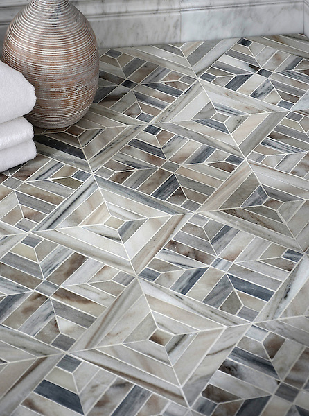 Laberinto Grand, a handmade mosaic shown in honed Horizon Dark and Cashmere. Designed by Paul Schatz for New Ravenna.<br />