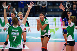 18.11.2018, Halle Berg Fidel, Muenster<br />Volleyball, Bundesliga Frauen, Normalrunde, USC MŸnster / Muenster vs. VfB Suhl Lotto ThŸringen / Thueringen<br /><br />Jubel Ivana Vanjak (#7 Muenster), Kazmiere Telonna Brown (#10 Muenster), Mareike Hindriksen (#2 Muenster)<br /><br />  Foto &copy; nordphoto / Kurth
