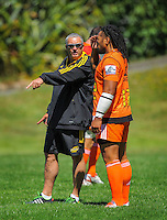 Hurricanes coach Chris Boyd talks with Ma'a Nonu during the Hurricanes Super rugby training at Rugby League Park, Wellington, New Zealand on Thursday, 8 January 2015. Photo: Dave Lintott / lintottphoto.co.nz
