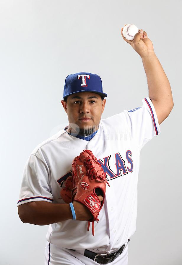 Feb. 20, 2013; Surprise, AZ, USA: Texas Rangers pitcher Joe Ortiz poses for a portrait during photo day at Surprise Stadium. Mandatory Credit: Mark J. Rebilas-