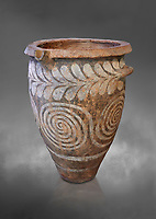 The Minoan clay burial pithos with swirl and leaf design,  Neopalatial period 1700-1450 BC; Heraklion Archaeological  Museum, grey background.<br /> <br /> The body was placed in a foetal postion to aid insertion into the wide mouthed pithos