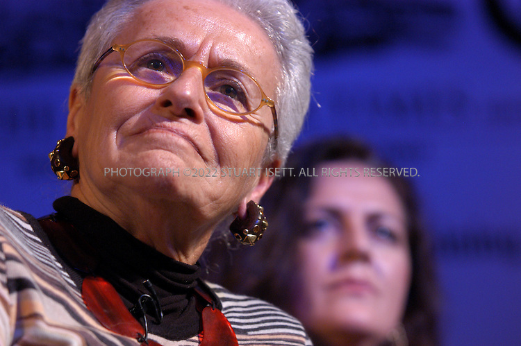 4/12/2003--Paris, France..From left to right: Rosita Missoni, Founder and designer (Missoni S.p.A.), Angela Missoni, Co-owner (Missoni S.p.A.), ...The International Herald Tribune's 3rd annual Fashion 2003 (Luxury in a cool climate) conference held at the Four Seasons Hotel in Paris. This year the conference looked at a luxury industry that took a hit in 2003, but seems to be recovering....All photographs ©2003 Stuart Isett/Polaris.All rights reserved.This image may not be reproduced without expressed written permission from Stuart Isett.