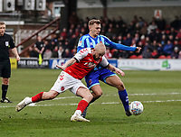 Fleetwood Town's Paddy Madden is tackled by Blackpool's Kieran Dewsbury-Hall<br /> <br /> Photographer Lee Parker/CameraSport<br /> <br /> The EFL Sky Bet League One - Fleetwood Town v Blackpool - Saturday 7th March 2020 - Highbury Stadium - Fleetwood<br /> <br /> World Copyright © 2020 CameraSport. All rights reserved. 43 Linden Ave. Countesthorpe. Leicester. England. LE8 5PG - Tel: +44 (0) 116 277 4147 - admin@camerasport.com - www.camerasport.com