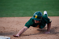Siena Saints first baseman Evan St. Claire (8) dives back towards first base during a game against the UCF Knights on February 17, 2019 at John Euliano Park in Orlando, Florida.  UCF defeated Siena 7-1.  (Mike Janes/Four Seam Images)