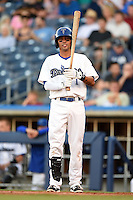 Tulsa Drillers second baseman Joey Wong (1) at bat during a game against the Midland RockHounds on May 30, 2014 at ONEOK Field in Tulsa, Oklahoma.  Tulsa defeated Midland 7-1.  (Mike Janes/Four Seam Images)